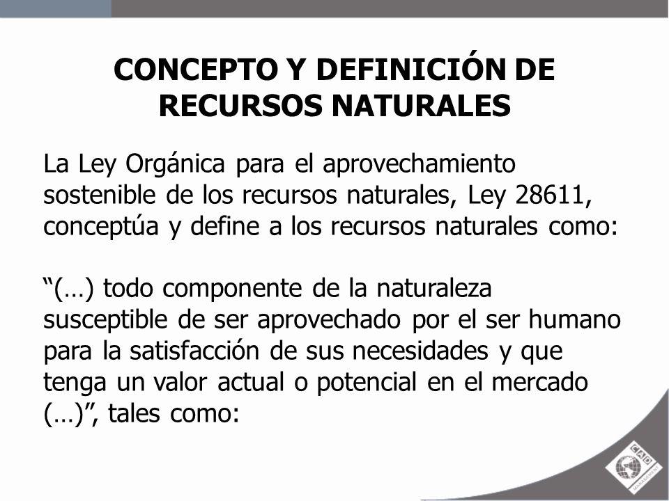 CONCEPTO Y DEFINICIÓN DE RECURSOS NATURALES