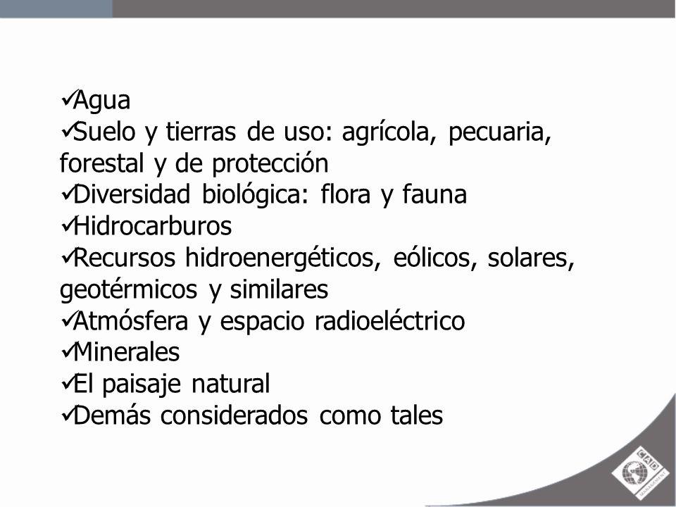 Agua Suelo y tierras de uso: agrícola, pecuaria, forestal y de protección. Diversidad biológica: flora y fauna.