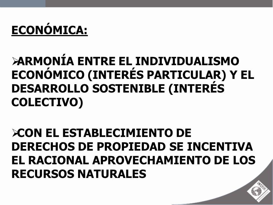 ECONÓMICA:ARMONÍA ENTRE EL INDIVIDUALISMO ECONÓMICO (INTERÉS PARTICULAR) Y EL DESARROLLO SOSTENIBLE (INTERÉS COLECTIVO)