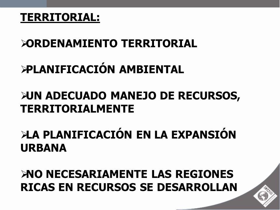 TERRITORIAL: ORDENAMIENTO TERRITORIAL. PLANIFICACIÓN AMBIENTAL. UN ADECUADO MANEJO DE RECURSOS, TERRITORIALMENTE.