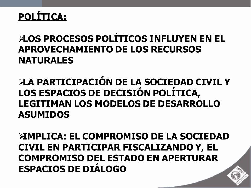 POLÍTICA: LOS PROCESOS POLÍTICOS INFLUYEN EN EL APROVECHAMIENTO DE LOS RECURSOS NATURALES.