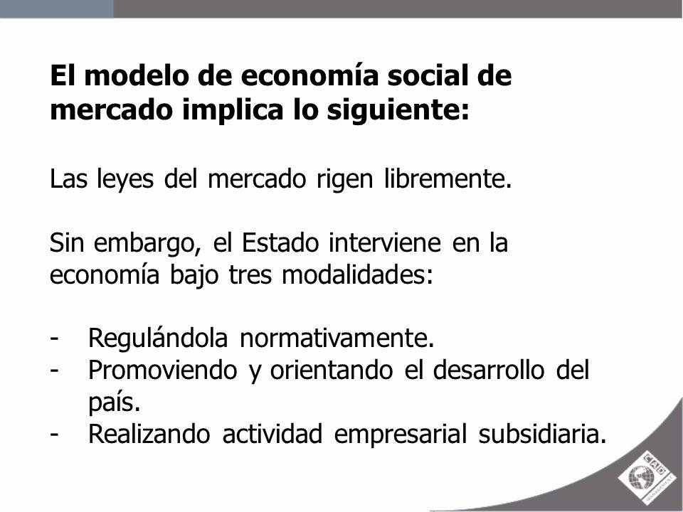 El modelo de economía social de mercado implica lo siguiente: