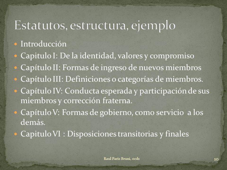 Estatutos, estructura, ejemplo