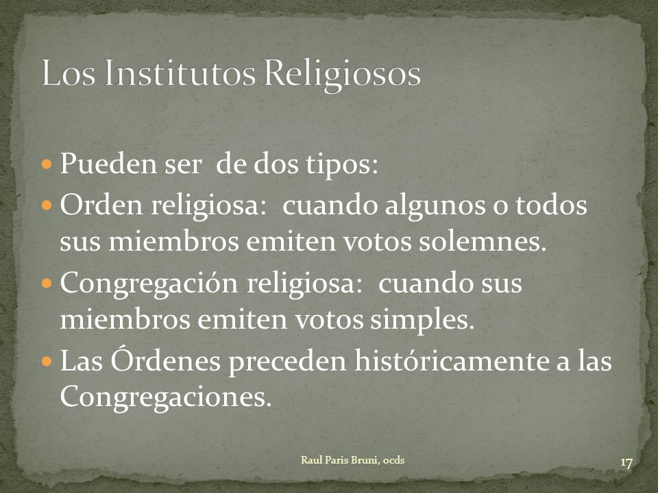 Los Institutos Religiosos