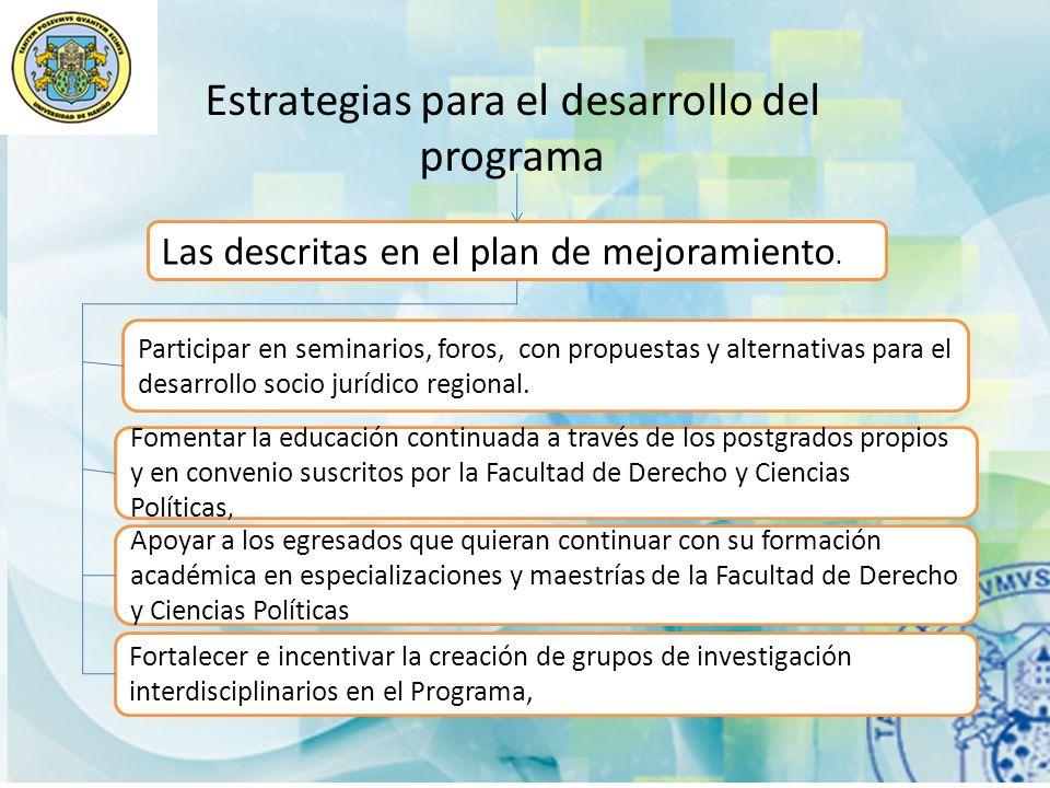 Estrategias para el desarrollo del programa