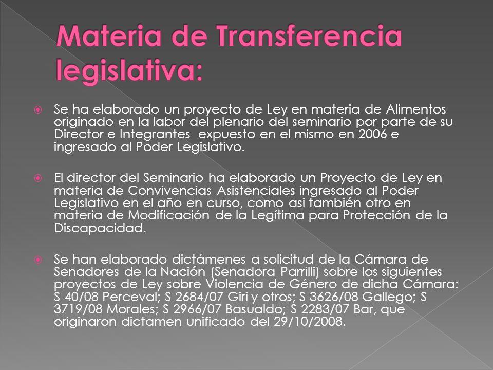 Materia de Transferencia legislativa: