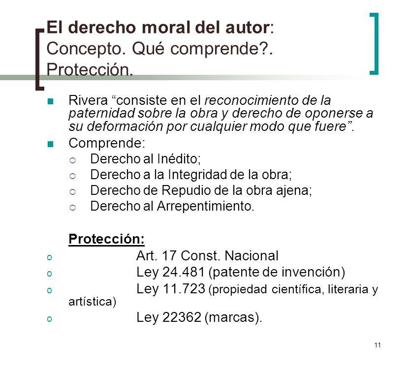 El derecho moral del autor: Concepto. Qué comprende . Protección.