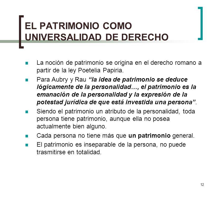 EL PATRIMONIO COMO UNIVERSALIDAD DE DERECHO