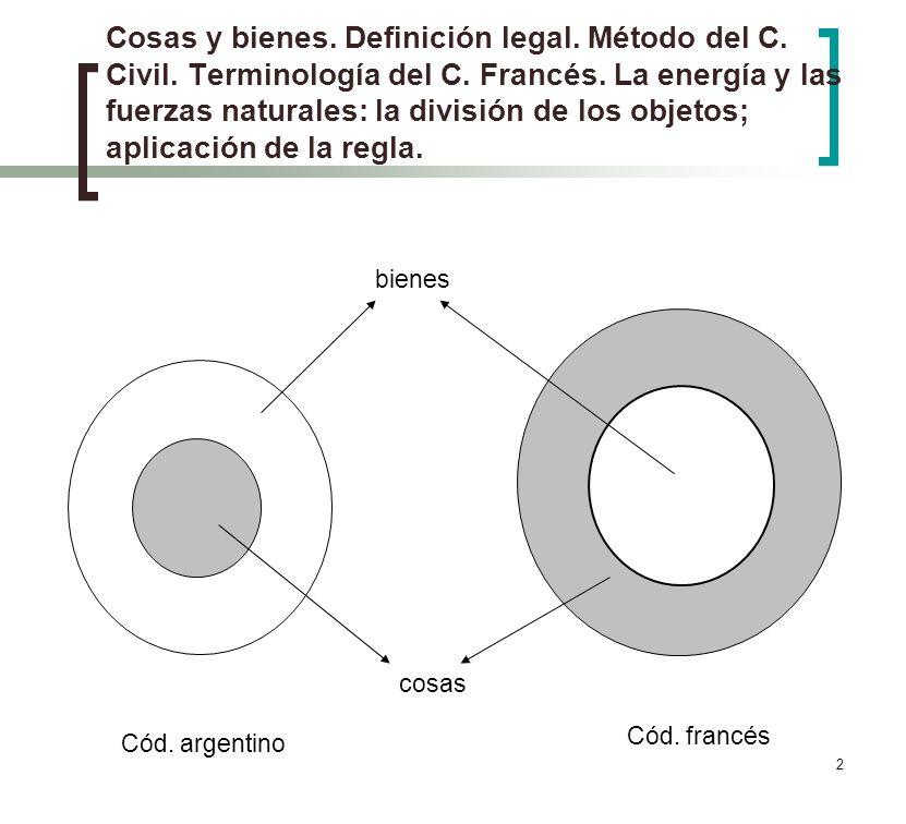 Cosas y bienes. Definición legal. Método del C. Civil