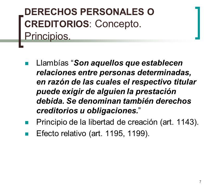 DERECHOS PERSONALES O CREDITORIOS: Concepto. Principios.