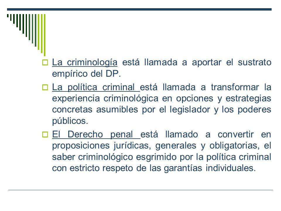 La criminología está llamada a aportar el sustrato empírico del DP.