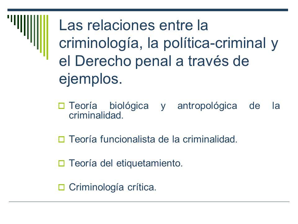 Las relaciones entre la criminología, la política-criminal y el Derecho penal a través de ejemplos.
