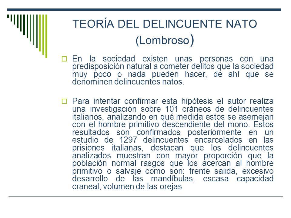 TEORÍA DEL DELINCUENTE NATO (Lombroso)