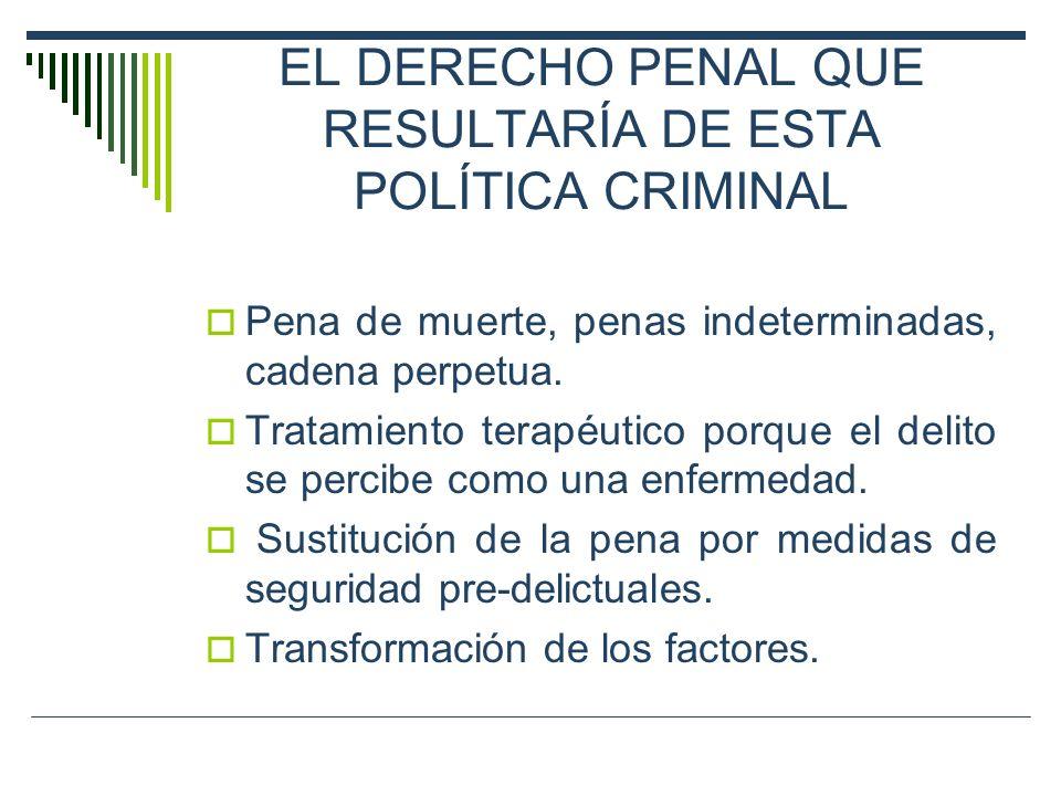 EL DERECHO PENAL QUE RESULTARÍA DE ESTA POLÍTICA CRIMINAL