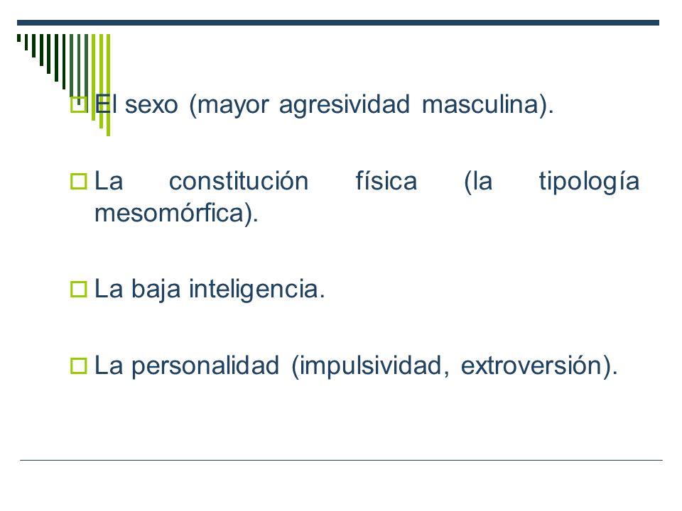 El sexo (mayor agresividad masculina).