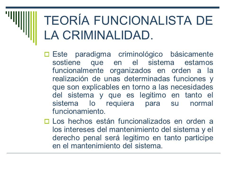 TEORÍA FUNCIONALISTA DE LA CRIMINALIDAD.