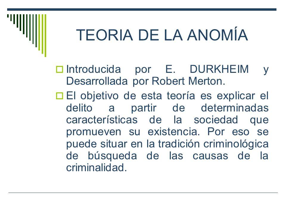 TEORIA DE LA ANOMÍA Introducida por E. DURKHEIM y Desarrollada por Robert Merton.