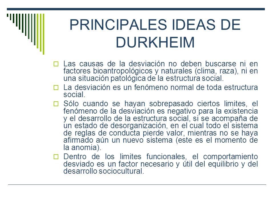 PRINCIPALES IDEAS DE DURKHEIM