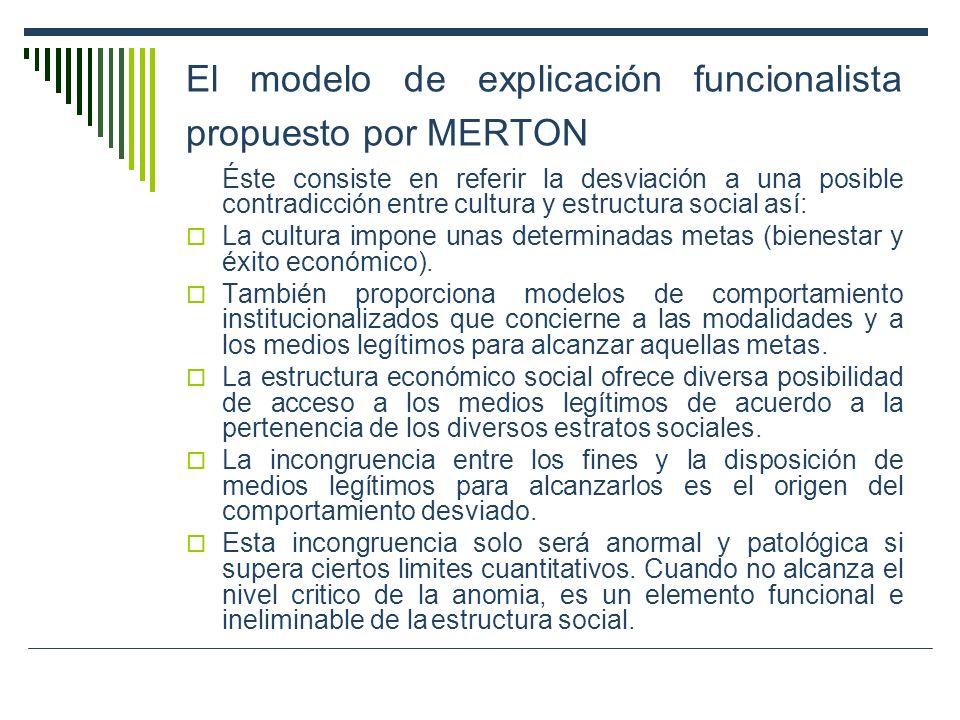 El modelo de explicación funcionalista propuesto por MERTON