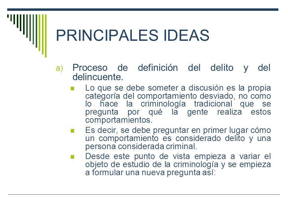 PRINCIPALES IDEAS Proceso de definición del delito y del delincuente.