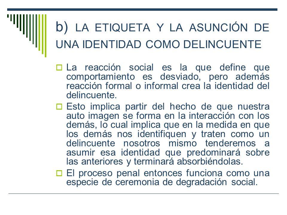 b) LA ETIQUETA Y LA ASUNCIÓN DE UNA IDENTIDAD COMO DELINCUENTE