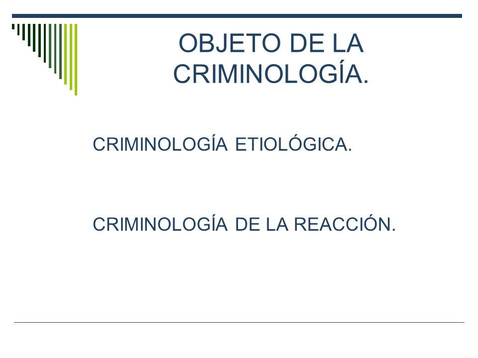 OBJETO DE LA CRIMINOLOGÍA.