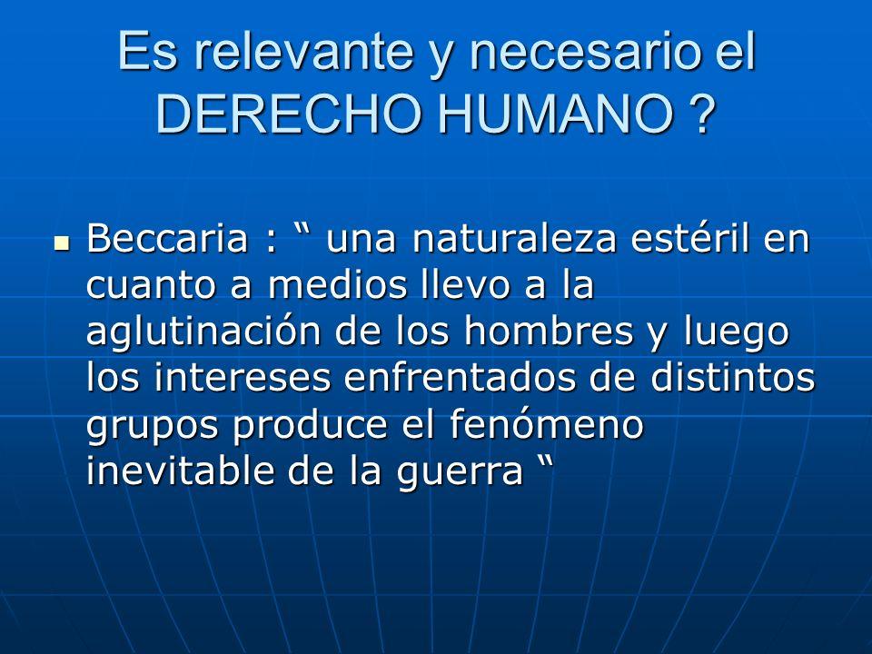 Es relevante y necesario el DERECHO HUMANO