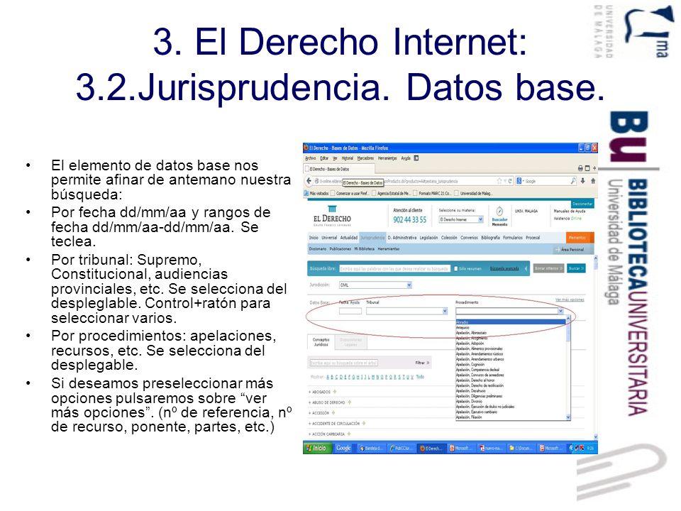 3. El Derecho Internet: 3.2.Jurisprudencia. Datos base.