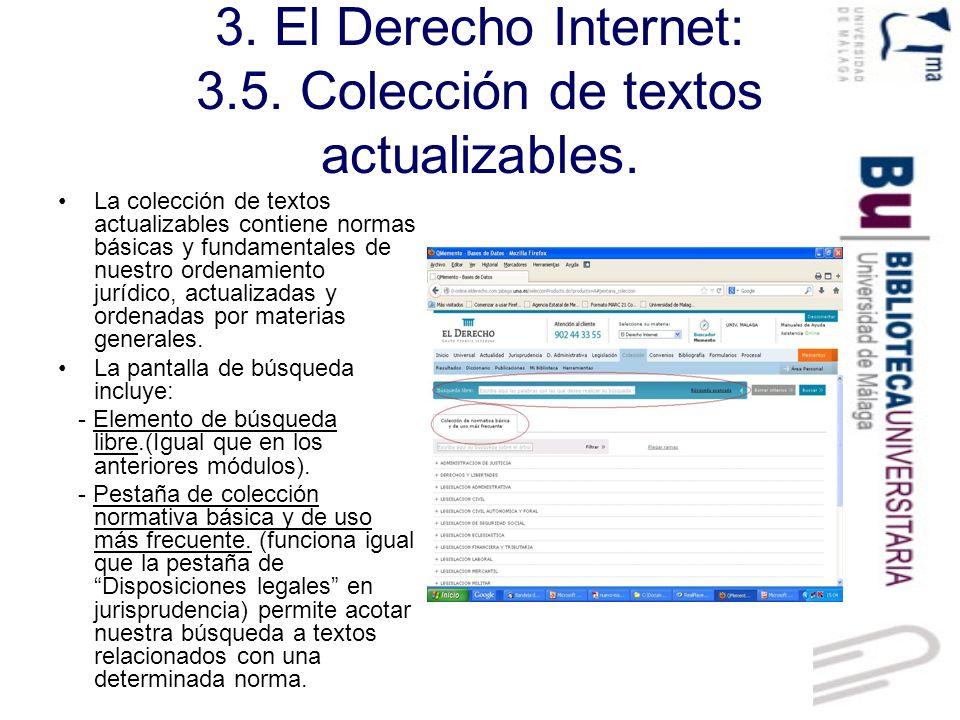 3. El Derecho Internet: 3.5. Colección de textos actualizables.