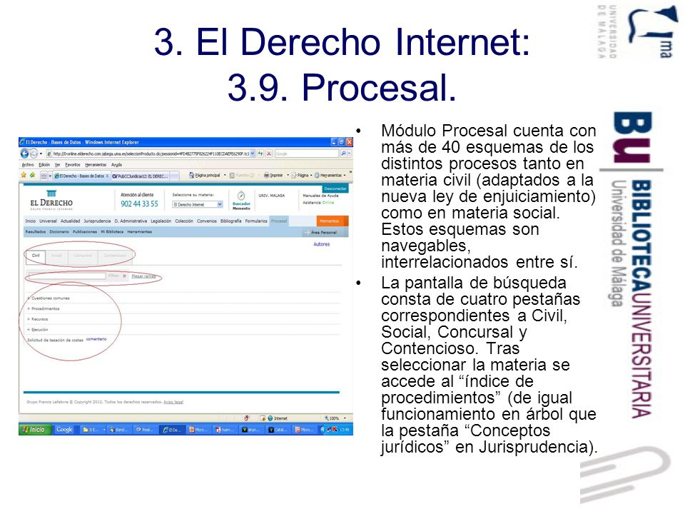3. El Derecho Internet: 3.9. Procesal.