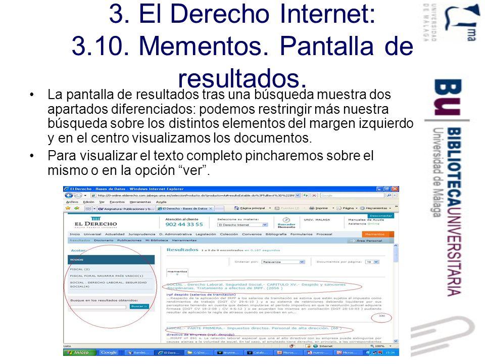 3. El Derecho Internet: 3.10. Mementos. Pantalla de resultados.