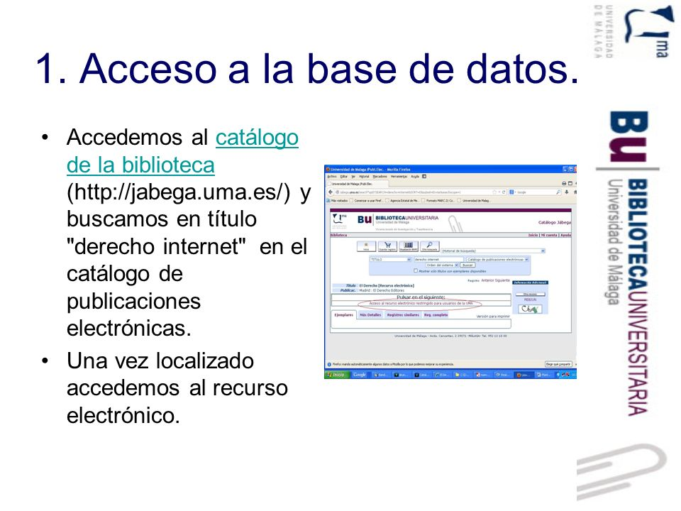 1. Acceso a la base de datos.