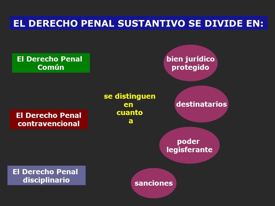 EL DERECHO PENAL SUSTANTIVO SE DIVIDE EN: