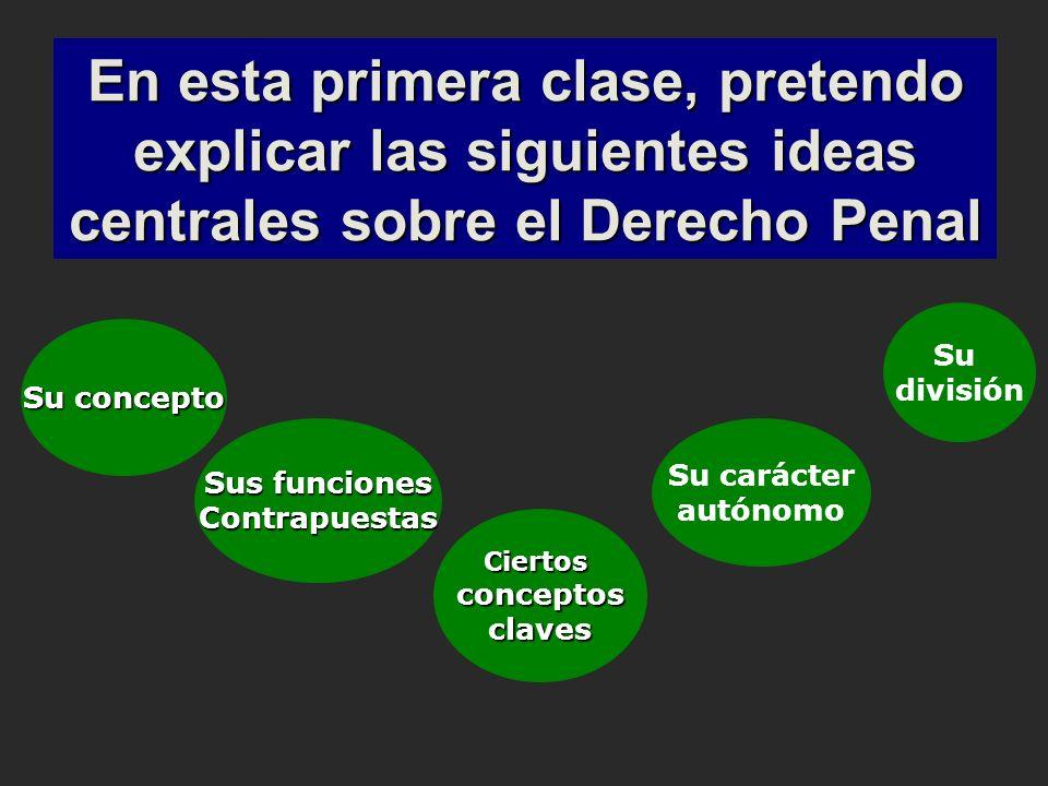 En esta primera clase, pretendo explicar las siguientes ideas centrales sobre el Derecho Penal