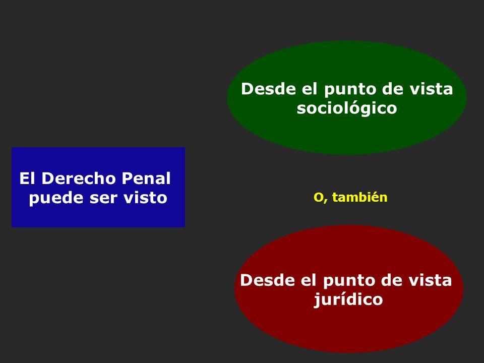 Desde el punto de vista sociológico El Derecho Penal puede ser visto