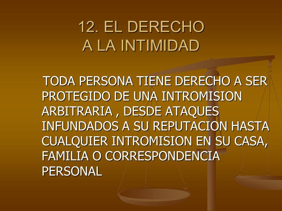 12. EL DERECHO A LA INTIMIDAD
