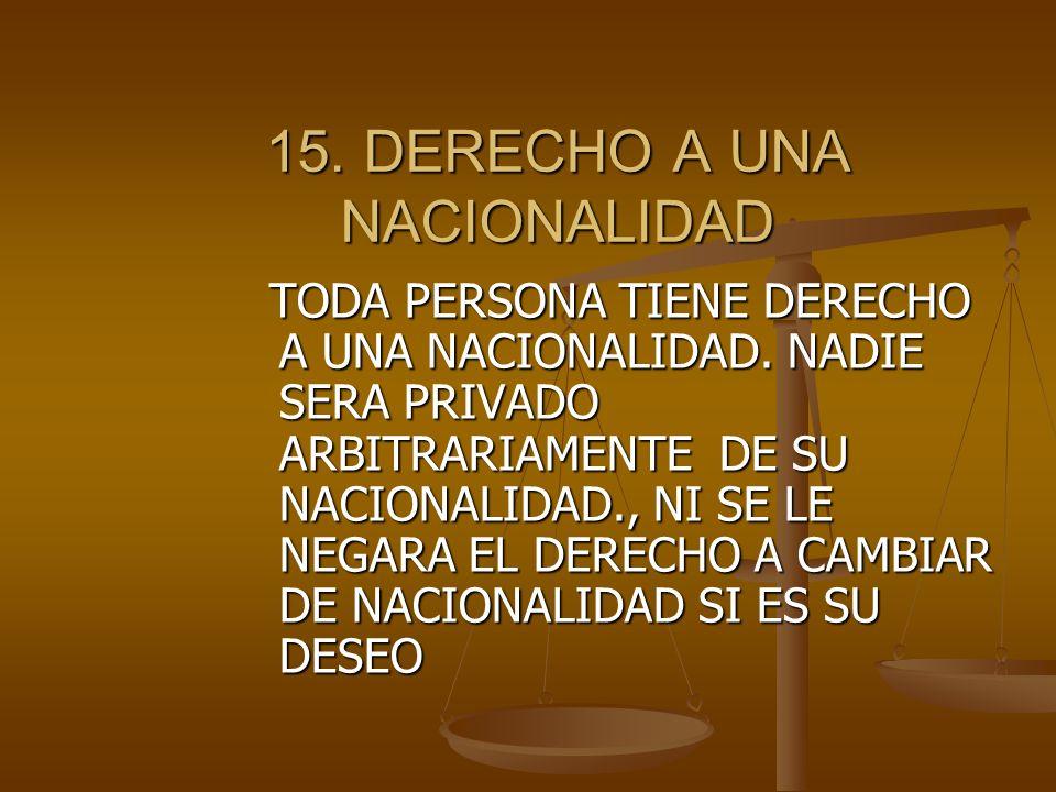 15. DERECHO A UNA NACIONALIDAD