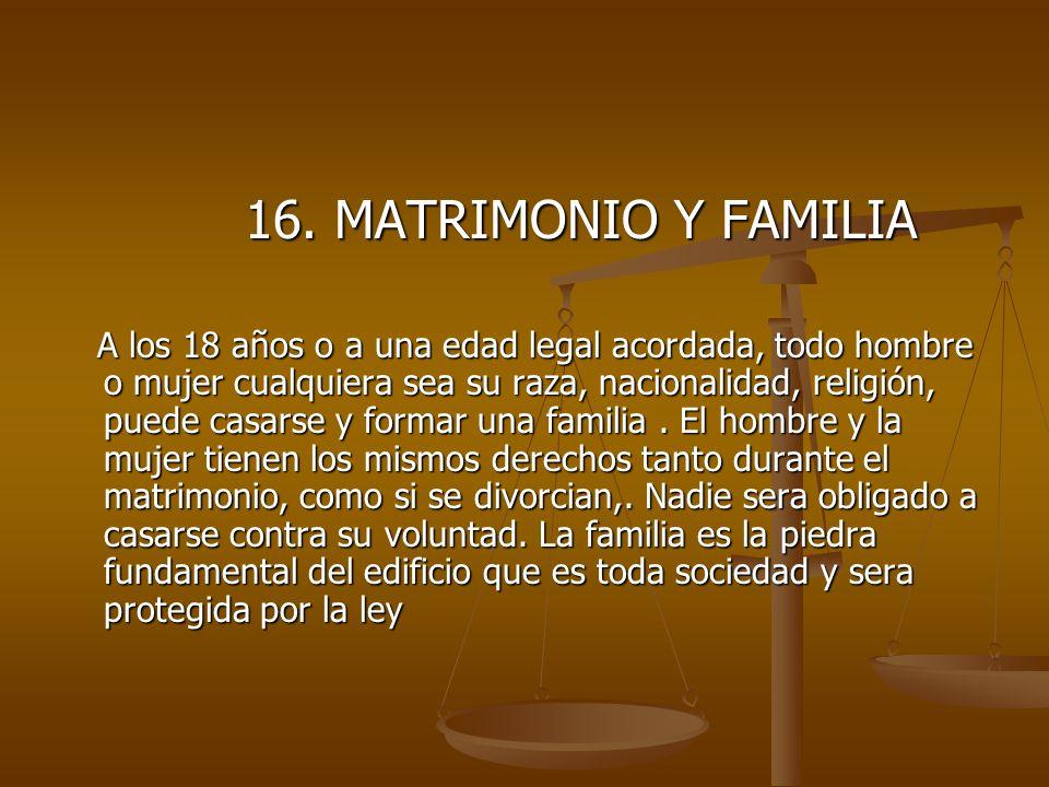 16. MATRIMONIO Y FAMILIA