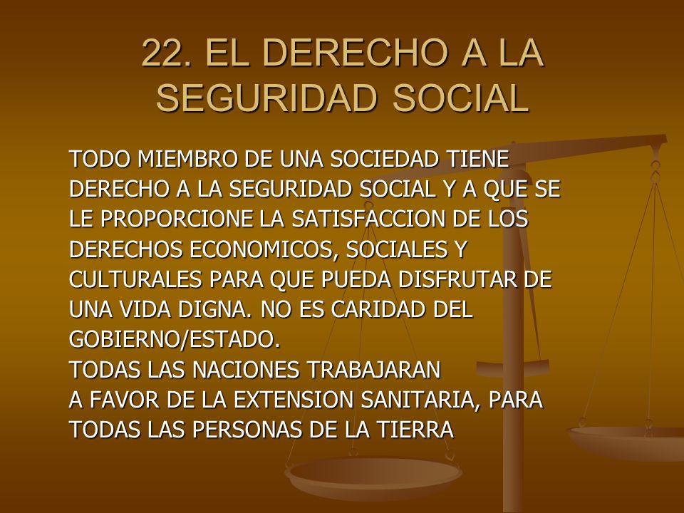 22. EL DERECHO A LA SEGURIDAD SOCIAL