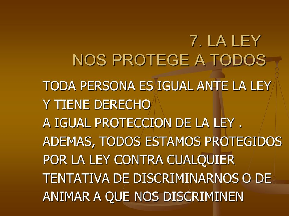 7. LA LEY NOS PROTEGE A TODOS