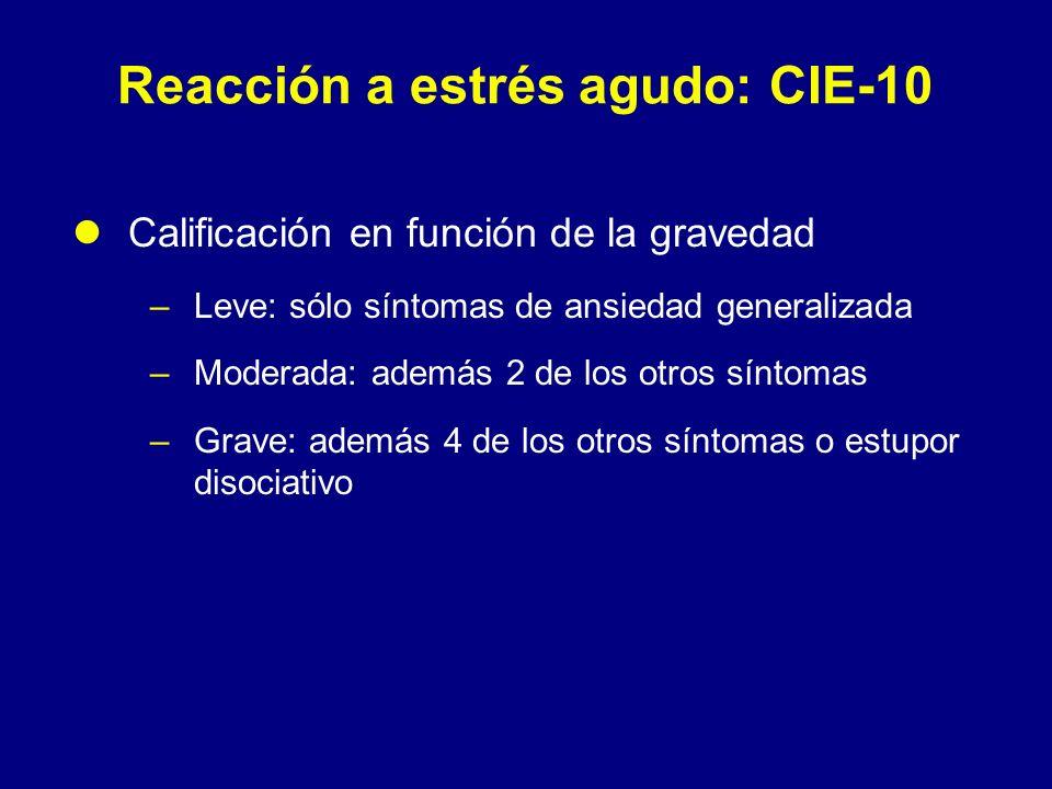 Reacción a estrés agudo: CIE-10