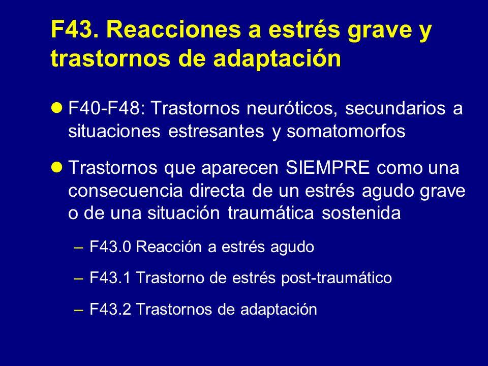 F43. Reacciones a estrés grave y trastornos de adaptación