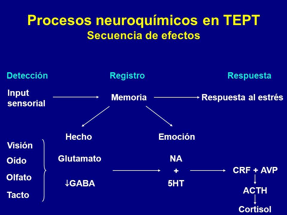 Procesos neuroquímicos en TEPT Secuencia de efectos