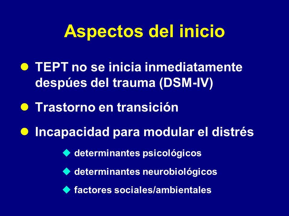 Aspectos del inicioTEPT no se inicia inmediatamente despúes del trauma (DSM-IV) Trastorno en transición.