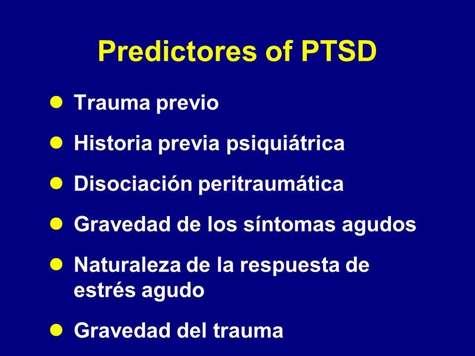 Predictores of PTSD Trauma previo Historia previa psiquiátrica