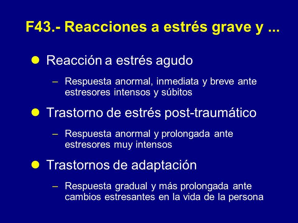 F43.- Reacciones a estrés grave y ...