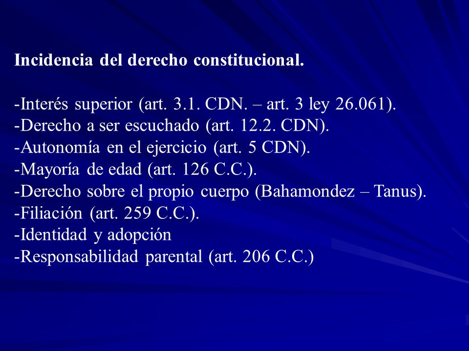 Incidencia del derecho constitucional.