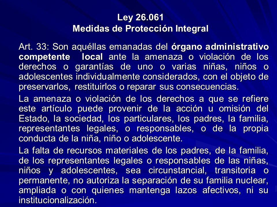 Ley 26.061 Medidas de Protección Integral