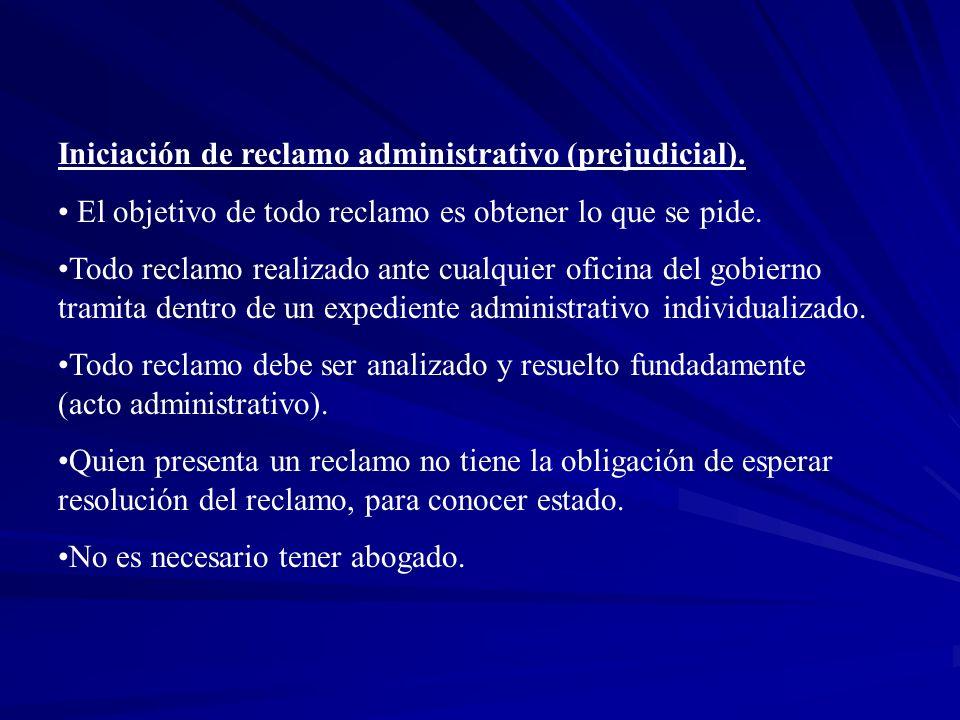 Iniciación de reclamo administrativo (prejudicial).