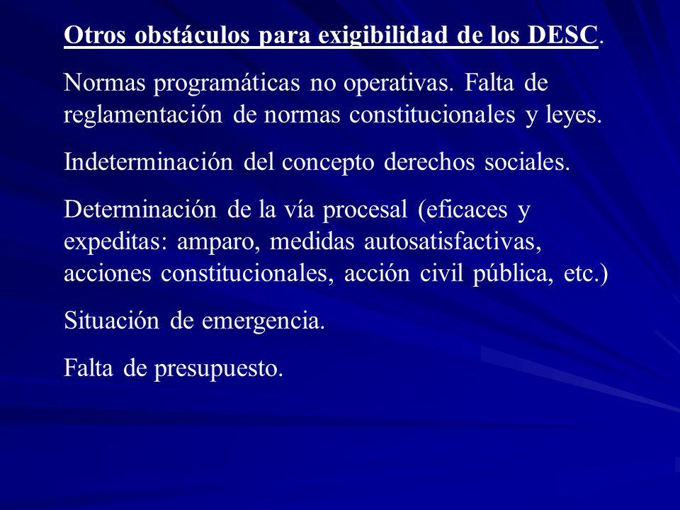 Otros obstáculos para exigibilidad de los DESC.